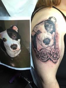 perro con rosas